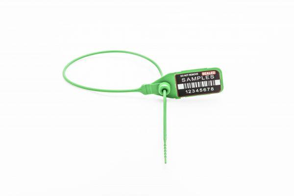 Produktbild plastsigill lång grön med vit bakgrund